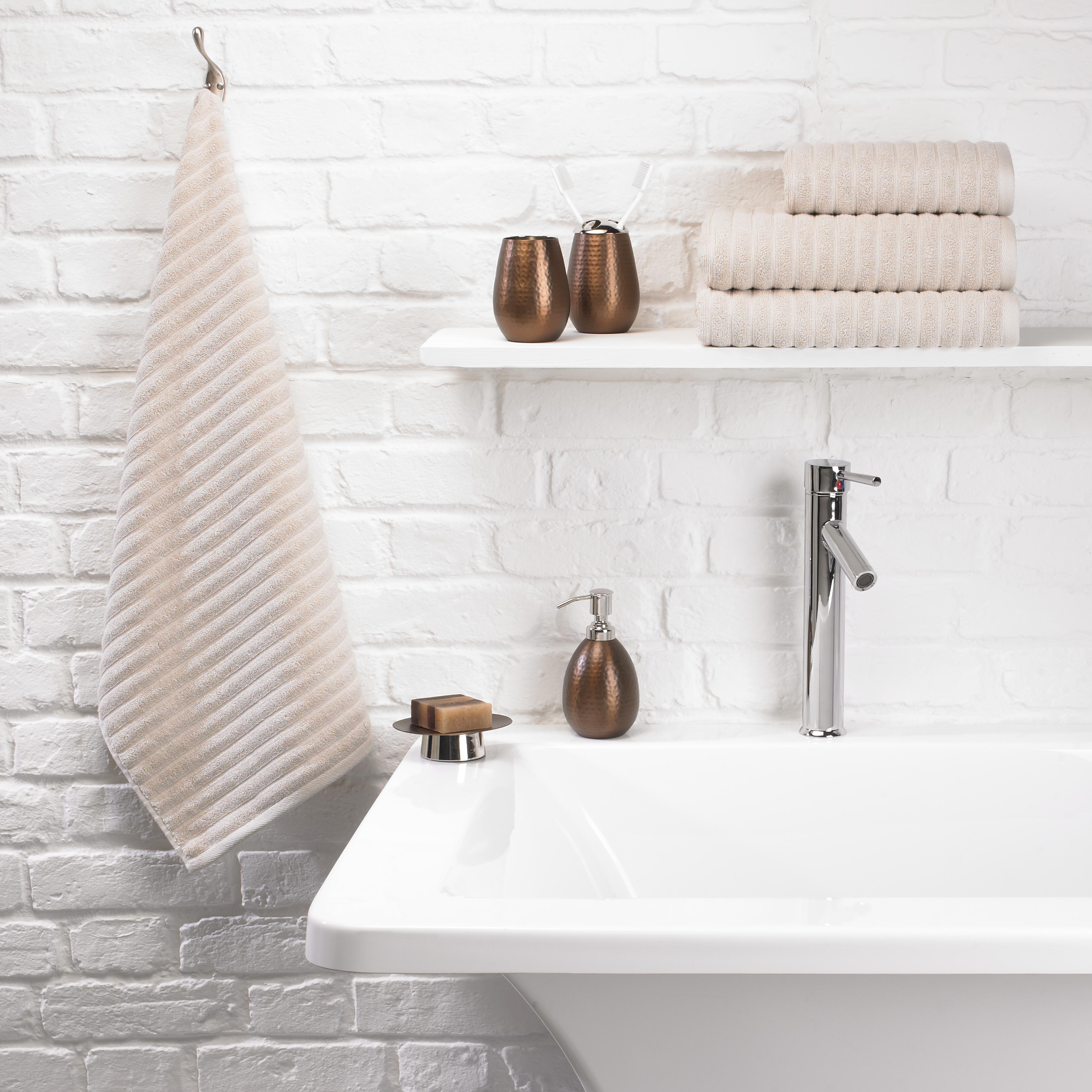 Towels ribbed jacquard stone