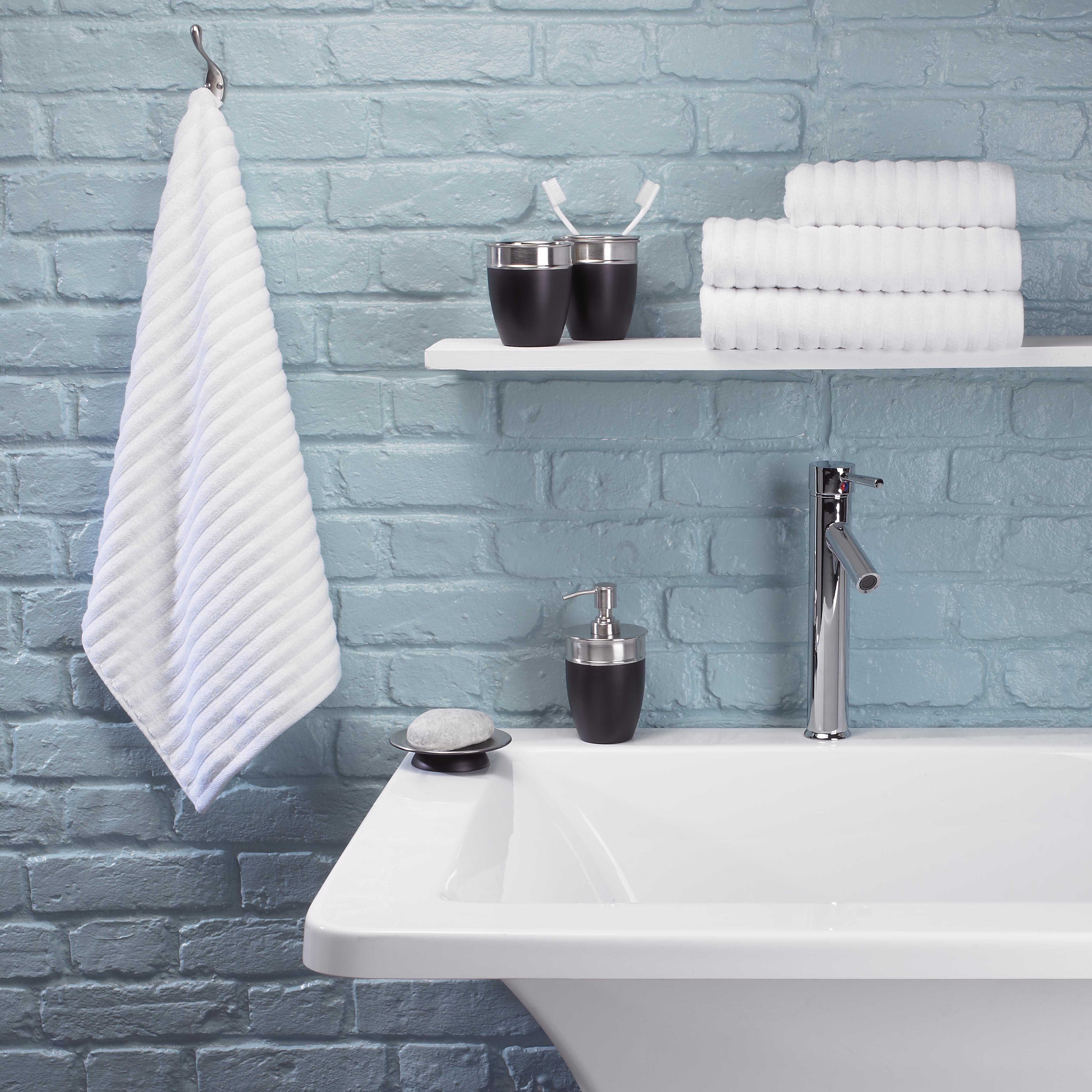 Towel Ribbed jacqaurd White