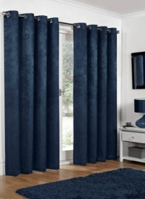 Embossed Blackout Curtains Navy