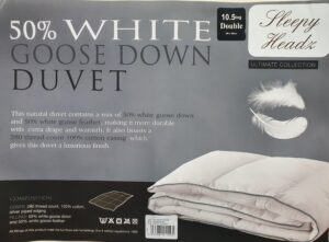 Sleepy Headz 10.5 tog 50% White Goose Down Duvet